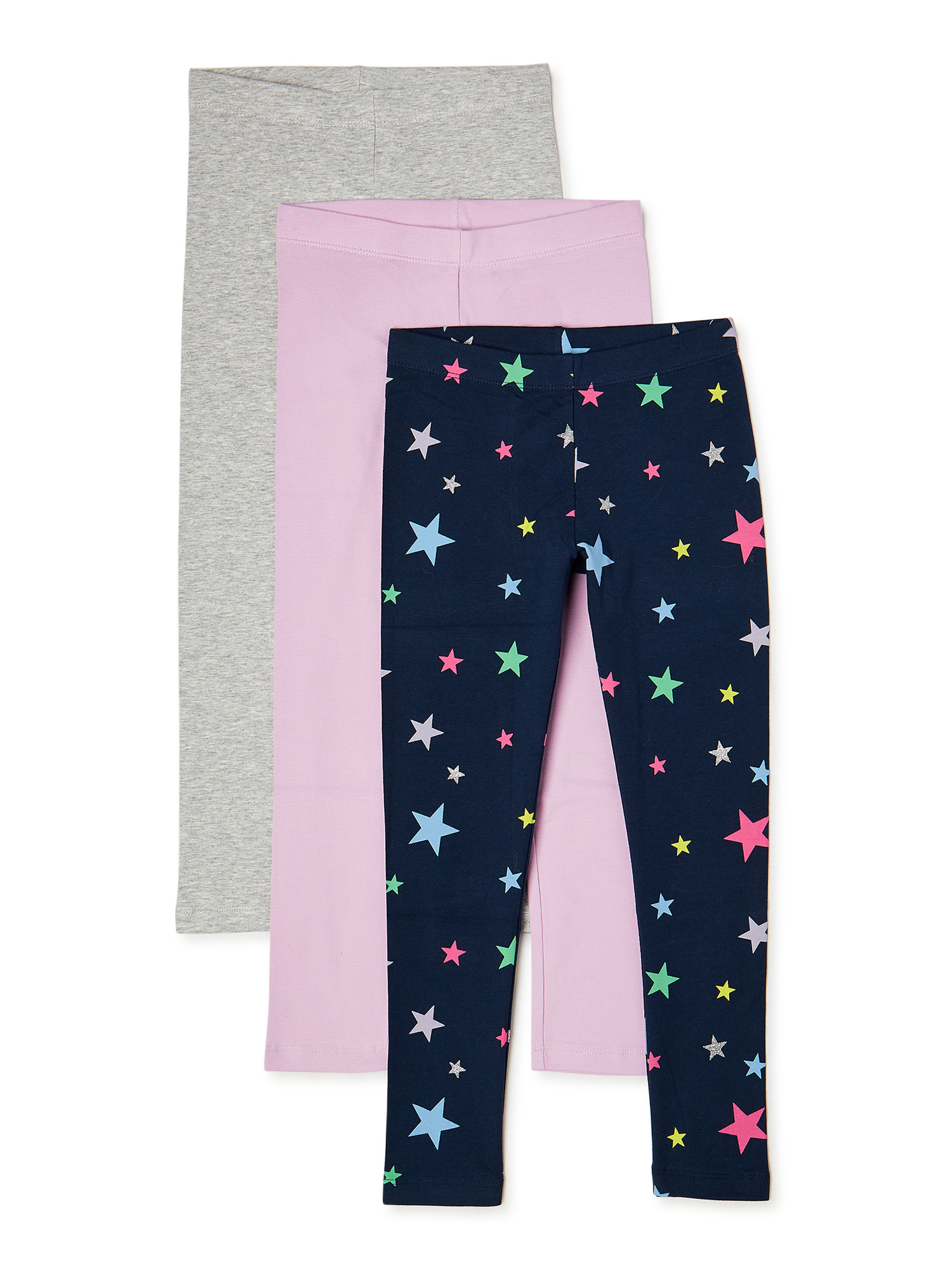 Girls Kids Toddlers 2 Pack Peppa Pig Tights Purple Grey New All In One Twin Pack