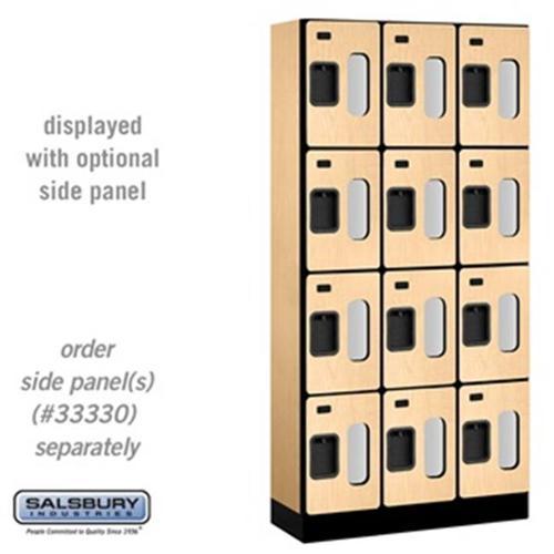 SalsburyIndustries S-34365MAP 15 inch Deep Four Tier 3 Wide See-Through Designer Wood Locker - Maple
