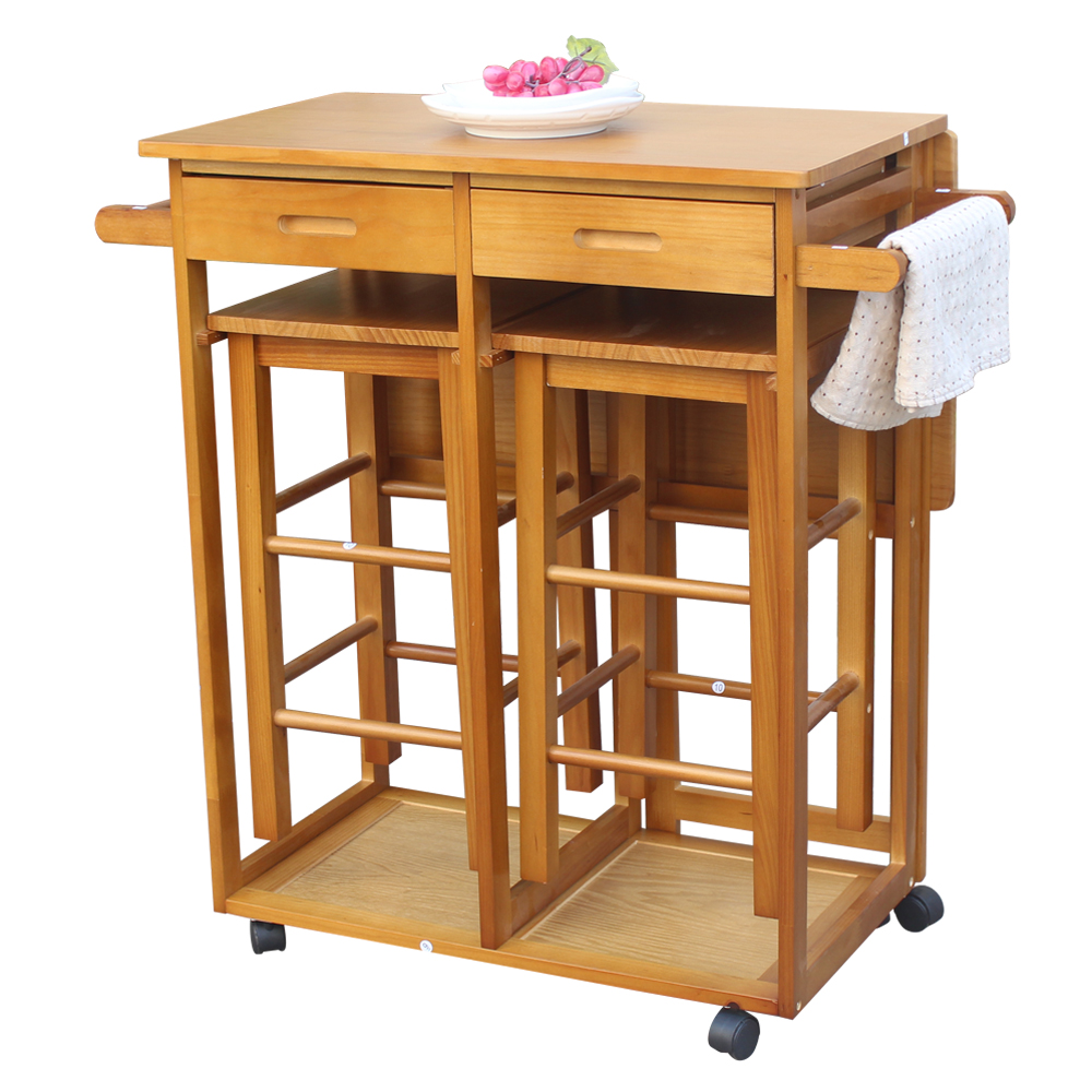 Folding Drop Leaf Kitchen Island Trolley Cart Storage Drawers Baskets Rolling Us Office Furniture Accessories Kolenik Carts Stands