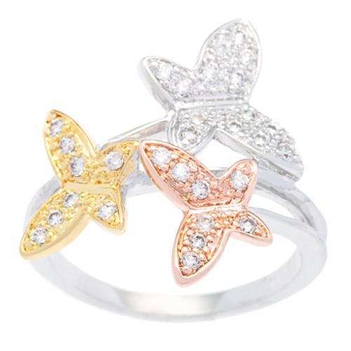 Kate Bissett  Tritone Silvertone Gold and Rose Gold Overlay Cubic Zirconia Butterfly Cocktail Ring