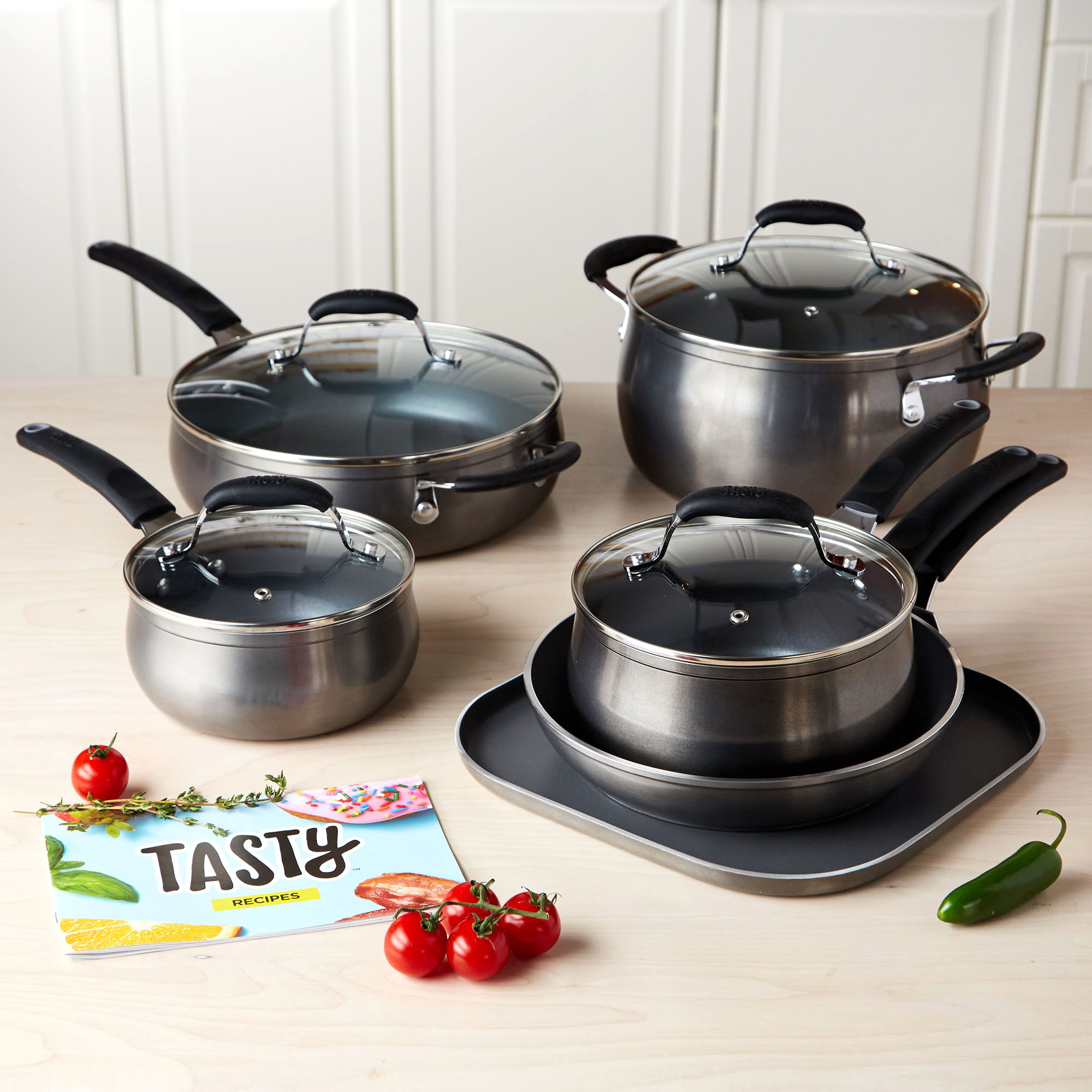 Tasty 11pc Cookware Set Non Stick   Diamond Reinforced   Pfoa Free, Gunmetal by Tasty