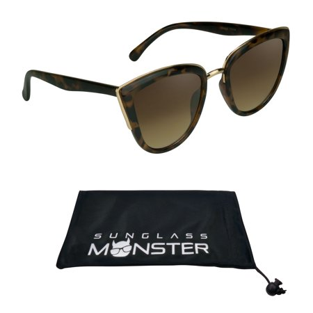 d1f36a72597 Sunglass Monster - Oversized Cateye Sunglasses Womens with metal bridge. Brown  lens with Tortoise Shell Brown Frame. - Walmart.com