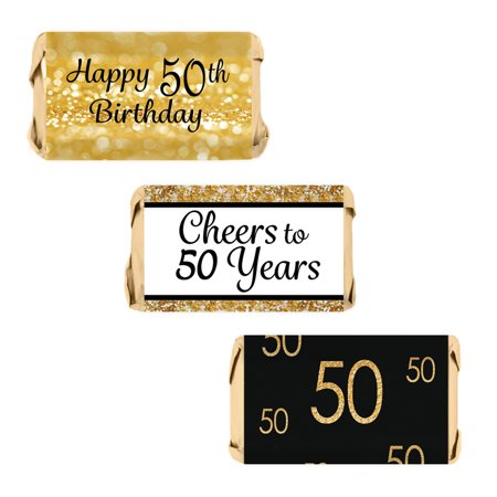 50th Birthday Party Decoration Stickers for Hershey's Miniatures Candy Bars - Gold and Black (Set of 54)