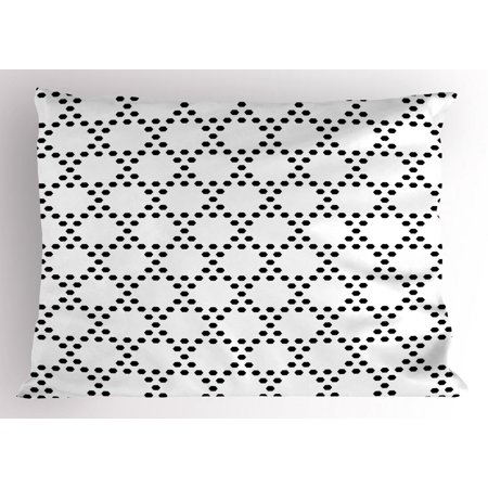 Black and White Pillow Sham, Monochrome Hexagonal Grid Formed by Small  Hexagons Geometric Pattern, Decorative Standard Queen Size Printed  Pillowcase,