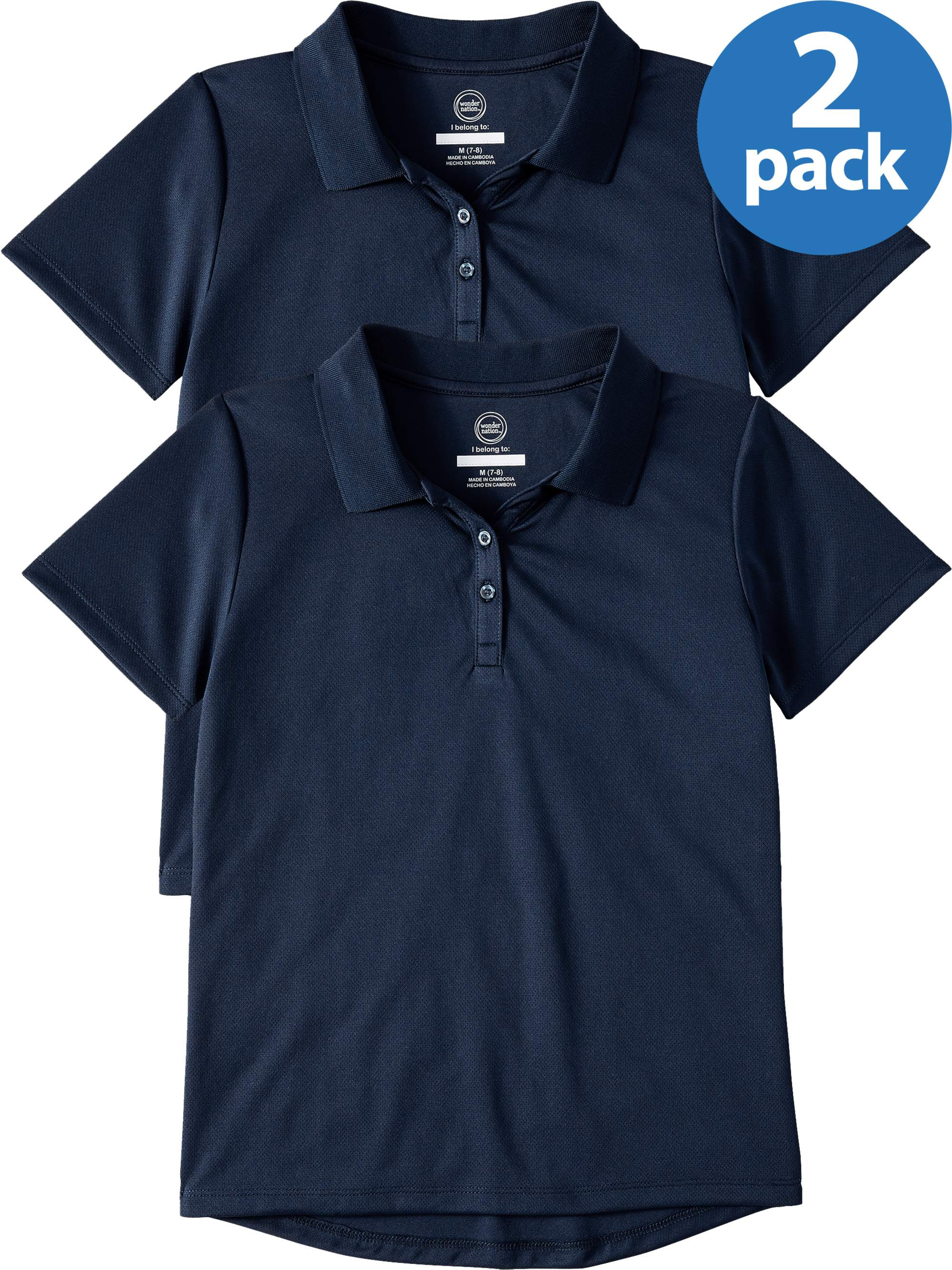Girls 2 pack Back to Scool Blue Polo Shirts