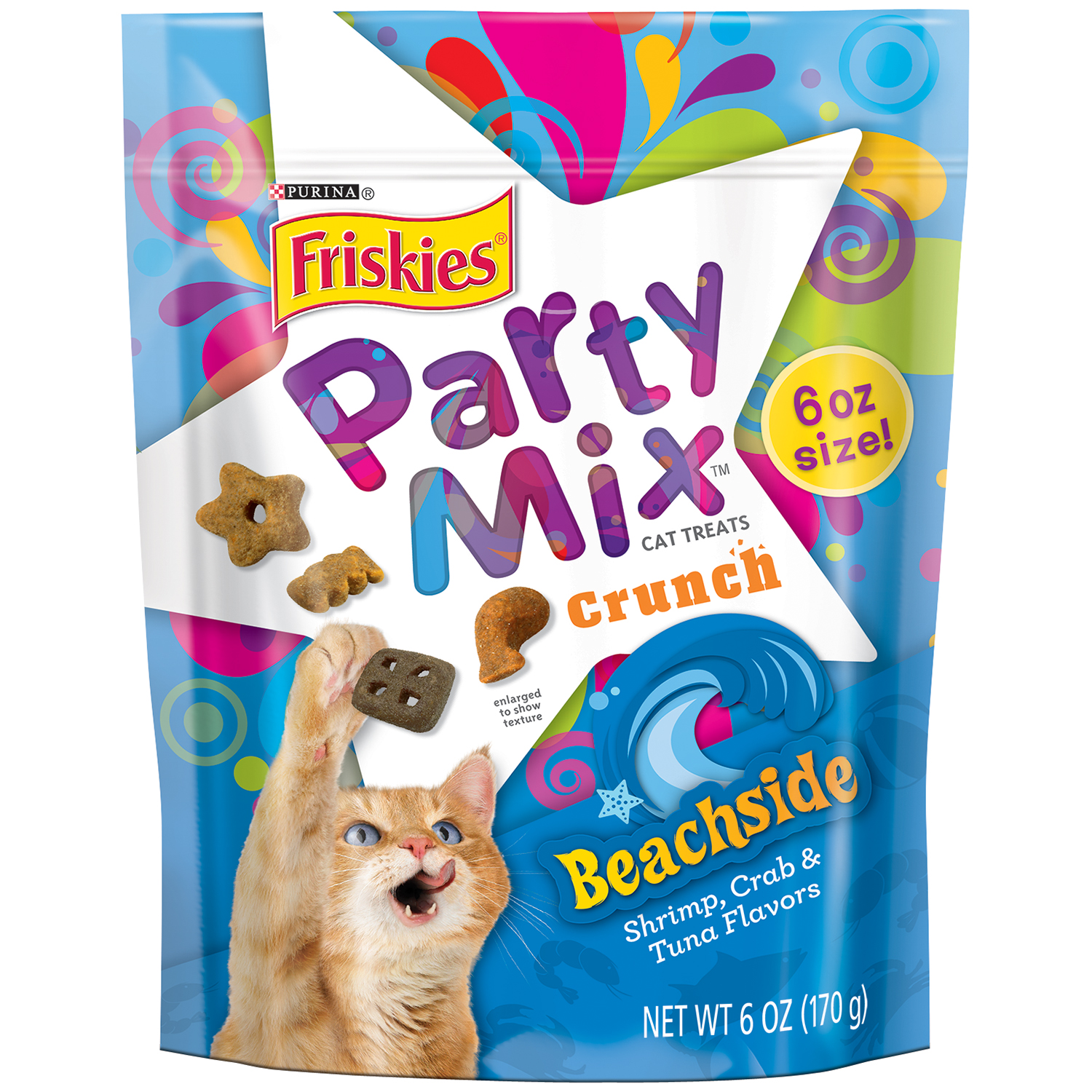 Purina Friskies Party Mix Crunch Beachside Cat Treats 6 oz. Pouch