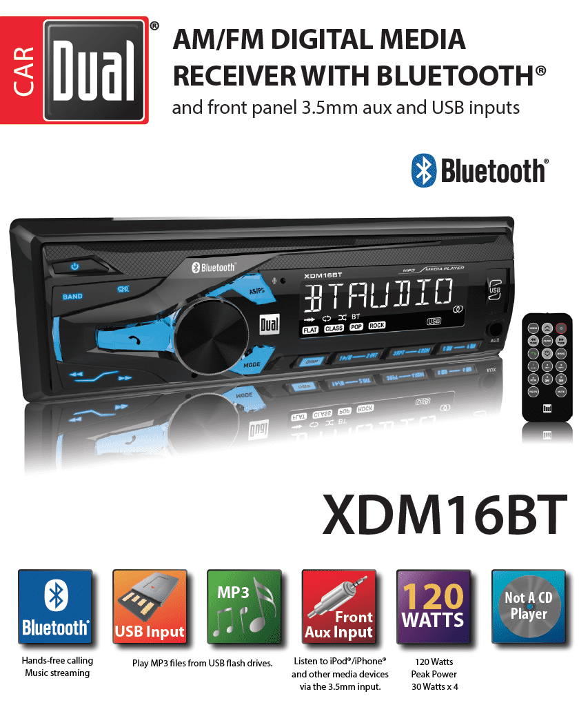 Dual Electronics Xdm16bt High Resolution Lcd Single Din Car Stereo For My Internal Wiring Harness With Built In Bluetooth Usb Mp3 Player