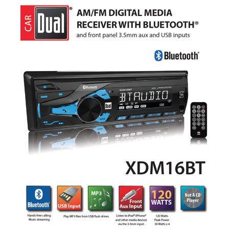 Dual Electronics XDM16BT High Resolution LCD Single DIN Car Stereo with Built-In Bluetooth, USB & MP3 Player Denon Dual Cd Player