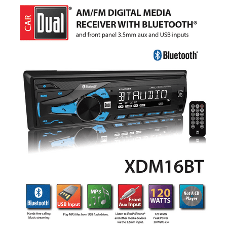 dual electronics xdm16bt high resolution lcd single din car stereo with  built-in bluetooth,