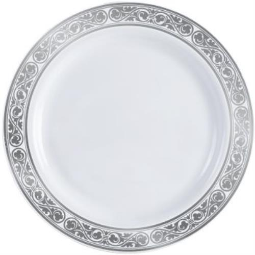 Simcha Royalty Plastic Dinner Plate 10.25-inch Silver Trim  sc 1 st  Walmart & Simcha Royalty Plastic Dinner Plate 10.25-inch Silver Trim - Walmart.com