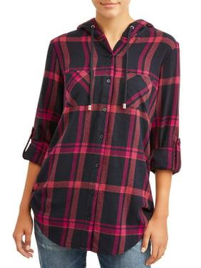 No Boundaries Juniors' Hooded Flannel Shirt
