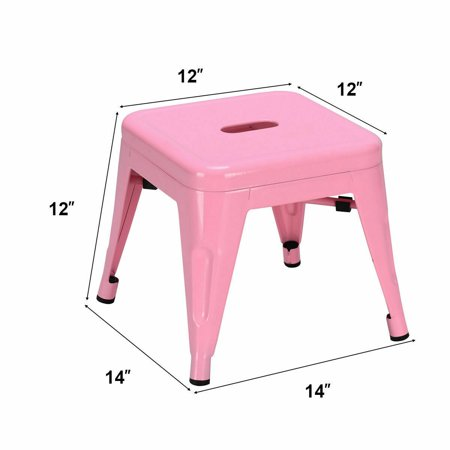 Gymax Set of 2 Stackable Stool Tolix Style Kids Children Lightweight Stool Metal Pink - image 6 de 7