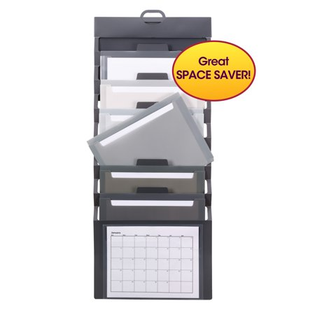 - Smead Cascading Wall Organizer, 6 Pockets, Letter Size, Gray/Neutral (92061)