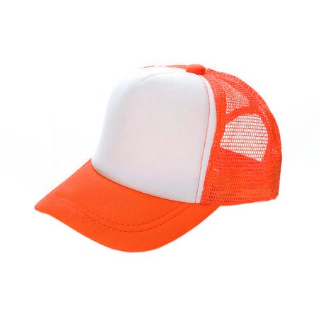 Opromo Blank Neon Foam Poly Mesh Trucker Hat Cap, Adjustable Snapback Hi Vis Cap-Neon Orange/White-Adult - Blank Trucker Hats