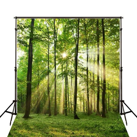 Bright Red Background - GreenDecor Polyster 5x7ft Bright Photography Backdrop Nature Forest Photo Background Trees Seamles Wedding Photo Backdrop