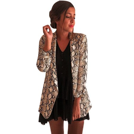 (Toponeto) Women Snake Print Long Sleeve Suit Coat Blazer Biker Jacket Outwear Tops Snake Print Suede Jacket