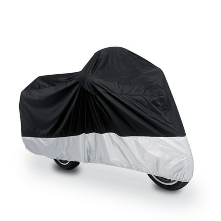 XXL 190T Rain Dust Motorcycle Cover Outdoor UV Snow Water Proof Black (Half Cover Motorcycle Covers)