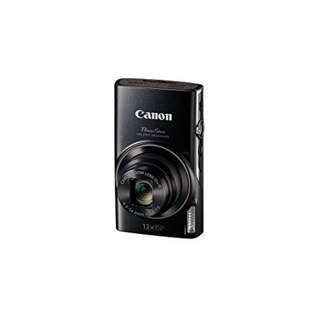 Black Canon Powershot camera with logo on front