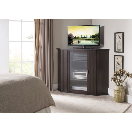 "Cali 47"" Walnut Wood Transitional Corner Entertainment Center Media Console TV Stand With Cabinets & 9 Storage Shelves"