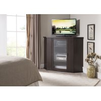 """Cali 47"""" Walnut Wood Transitional Corner Entertainment Center Media Console TV Stand With Cabinets & 9 Storage Shelves"""