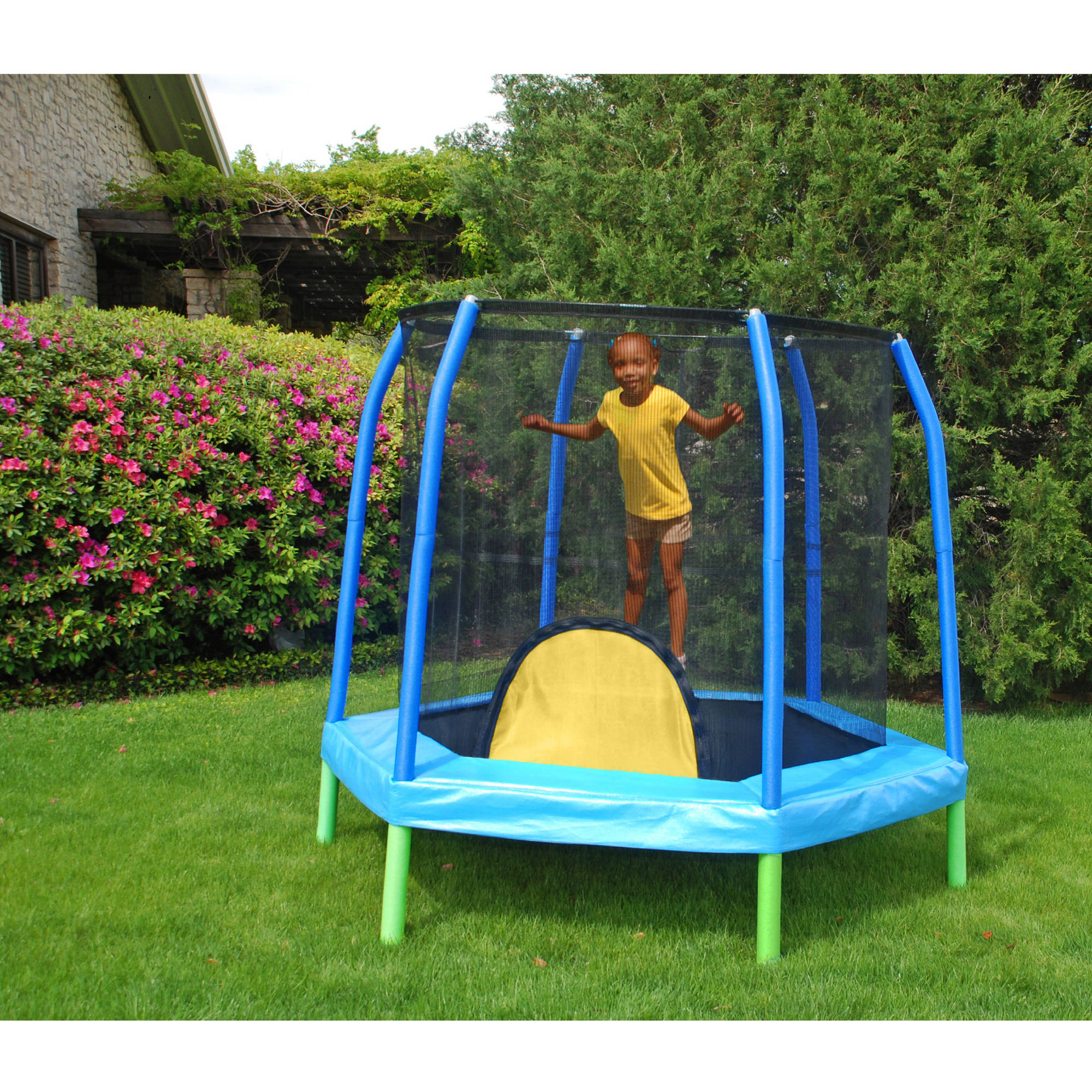 Bazoongi 7.5' Hexagonal Kids Combo Trampoline and Enclosure