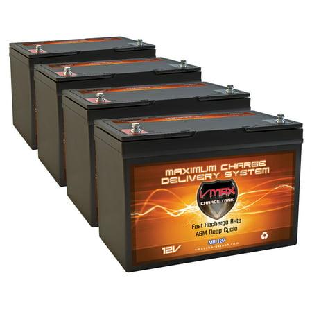 QTY4 VMAX MR127-100 12V 100AH AGM Deep Cycle Group 27 Batteries for Minn Kota® E-Drive Electric Outboard 48V 2HP Pontoon Trolling Motor ()