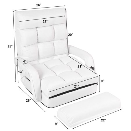 Costway Folding Lazy Sofa Lounger Bed Floor Chair Sofa w/ Armrests Pillow White - image 4 of 9