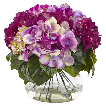 Nearly Natural Multi-Tone Hydrangea with Vase Silk Flower