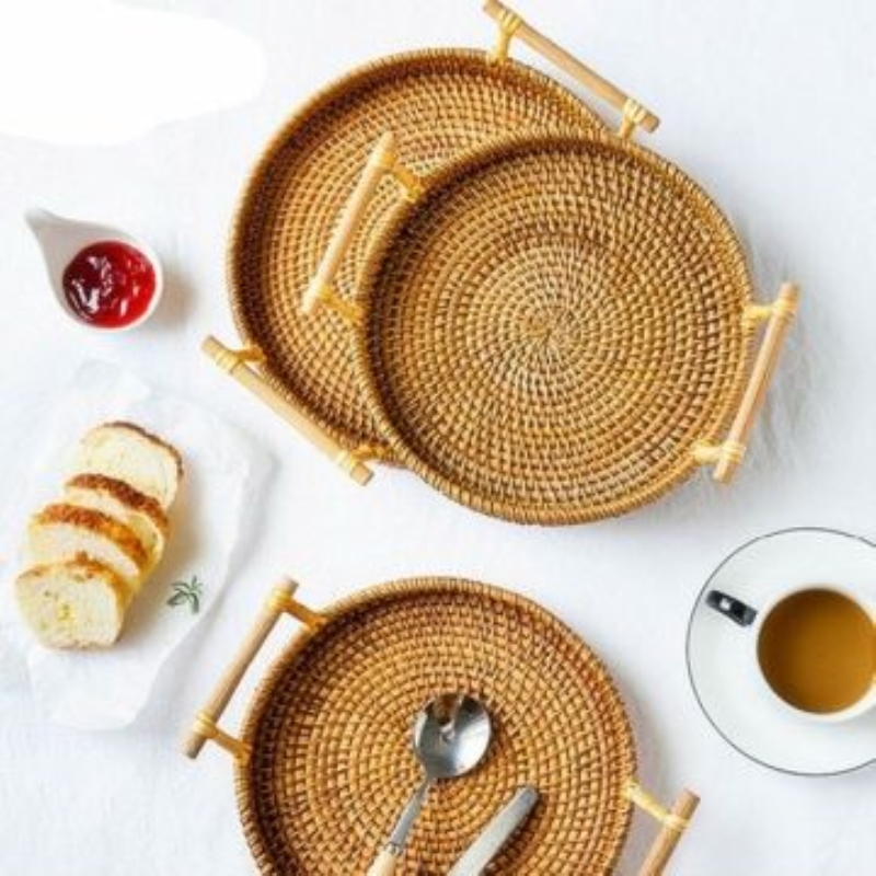 Rattan Bread Basket Handmade Round Woven Tea Tray W// Handles For Serving Dinner