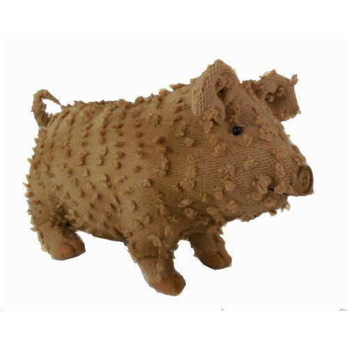 Craft Outlet Shabby Elegance Fabric Chenille Farmhouse Pig Collectible Figurine