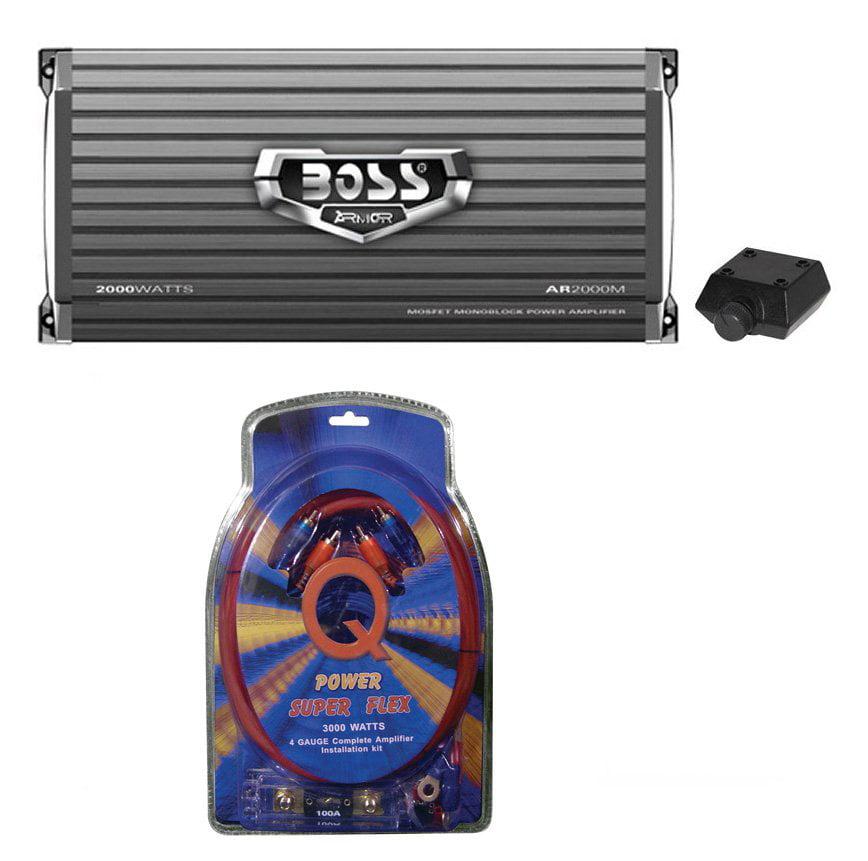 NEW Boss Audio AR2000M 2000W MONO A/B Car Amplifier + 4 Gauge Amp Install Kit