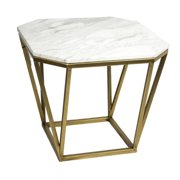 Contemporary Style Metal & Marble Accent Table, White