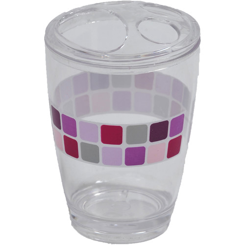 Evideco Mosaic Clear Acrylic Printed Toothbrush Holder