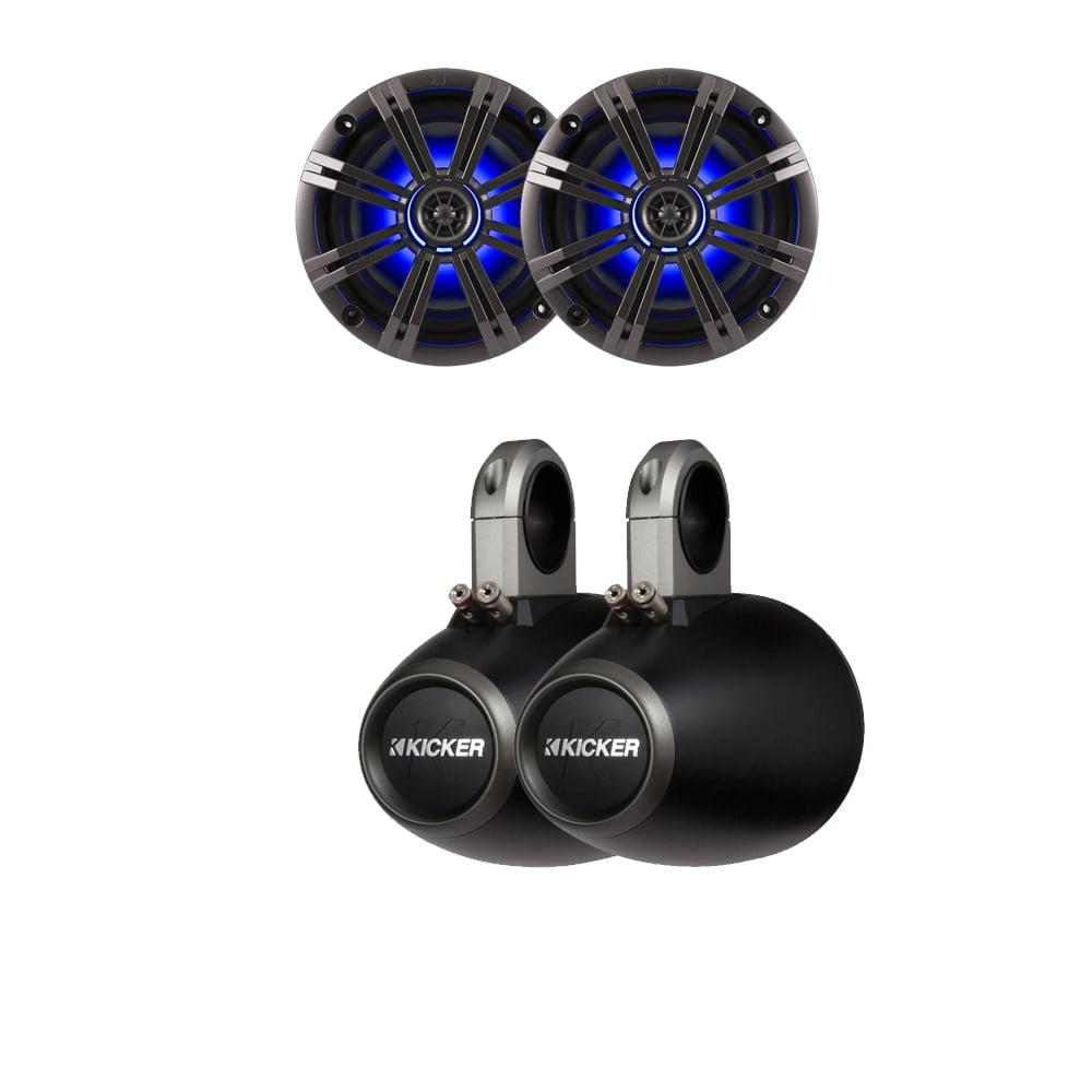 Kicker Marine Bundle with (2)OEM Replacement Speakers + 12KMTES Enclosures (Pair)