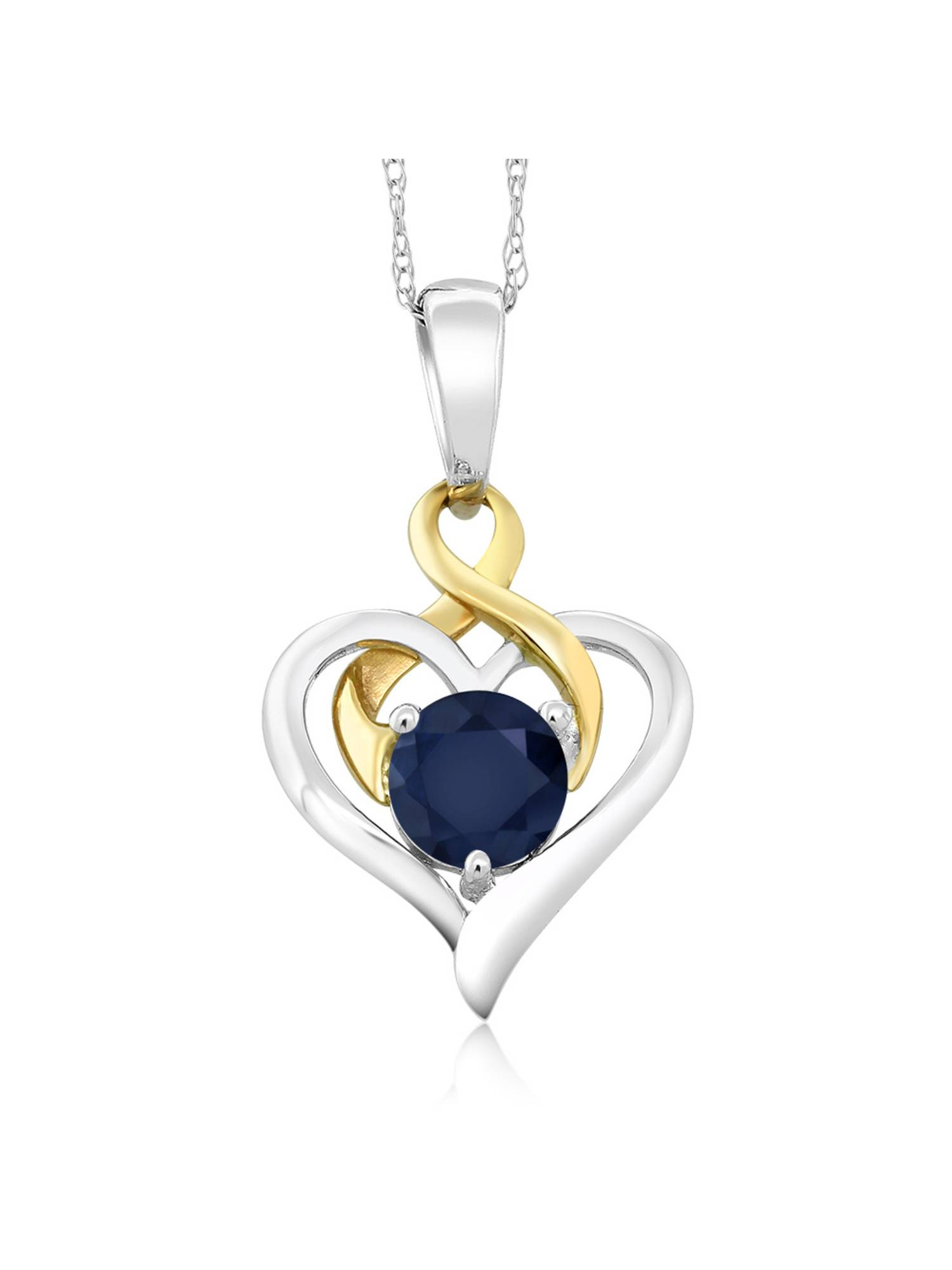 10K Two-Tone Gold 1.00 Ct Round Blue Sapphire Heart Pendant With Chain by