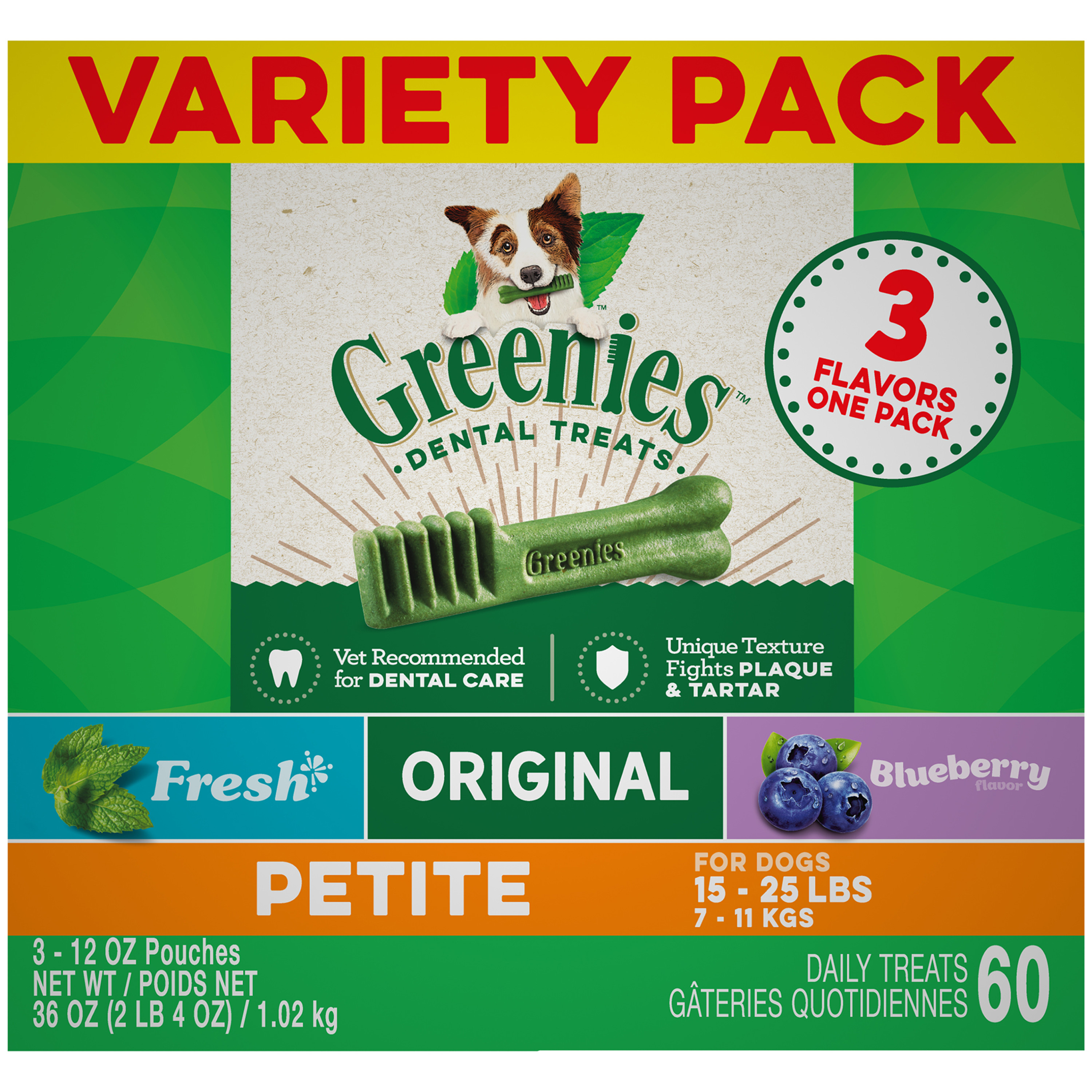 GREENIES 3-Flavor Variety Petite Dental Dog Treats, 36 oz. Pack (60 Treats)