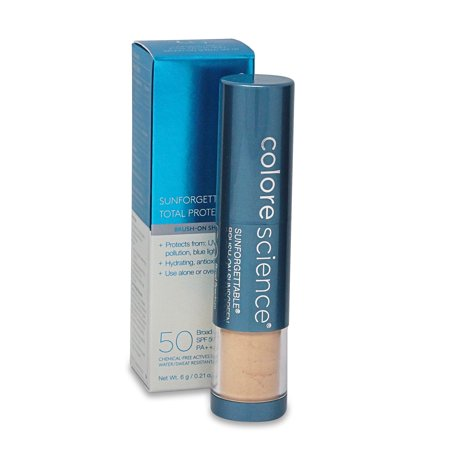 Colorescience Sunforgettable Total Protection Brush-On Shield SPF 50, Matte, Medium, 0.21 (Colorscience Sunforgettable Brush On Sunscreen With Spf)
