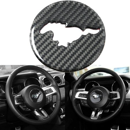 Xotic Tech 1 Piece Real Carbon Fiber Steering Wheel Insert Decoration Cover Emblem Sticker for 2015 and up Ford (Emblem Wheel)