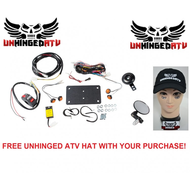 TUSK ATV Horn ; Signal Kit with Recessed Signals and Free Unhinged ATV Hat – Fits: Suzuki King Quad 700 4x4 2005–2007