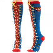 DC Comics Faux Lace Up Juniors Knee High Socks - Super Man Socks