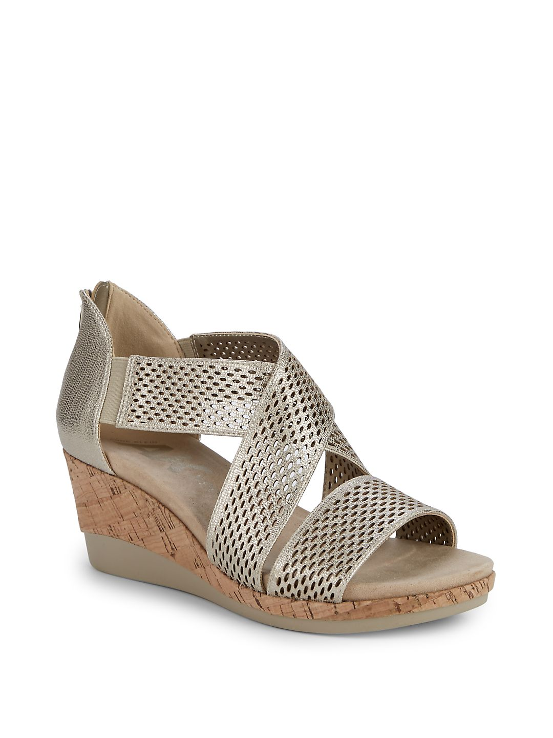 Pebbles Wedge Heel Faux Leather Sandals