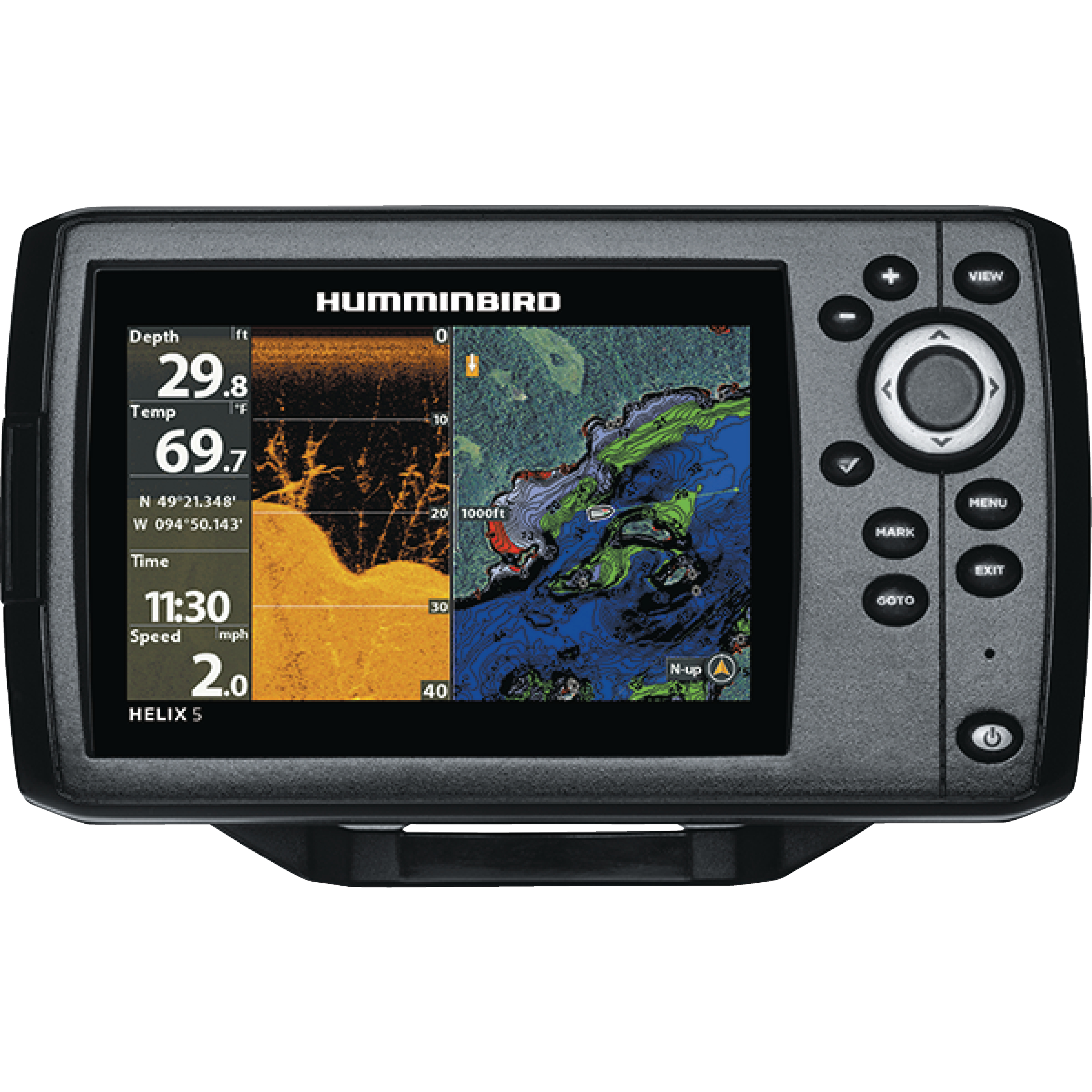"Humminbird 410220-1NAV HELIX 5 CHIRP DI GPS G2 Sonar Fishfinder & Chartplotter with Down Imaging, Navionics & 5"" Display"