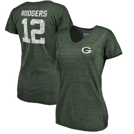 Aaron Rodgers Green Bay Packers NFL Pro Line by Fanatics Branded Women's Icon Tri-Blend Player Name & Number V-Neck T-Shirt -