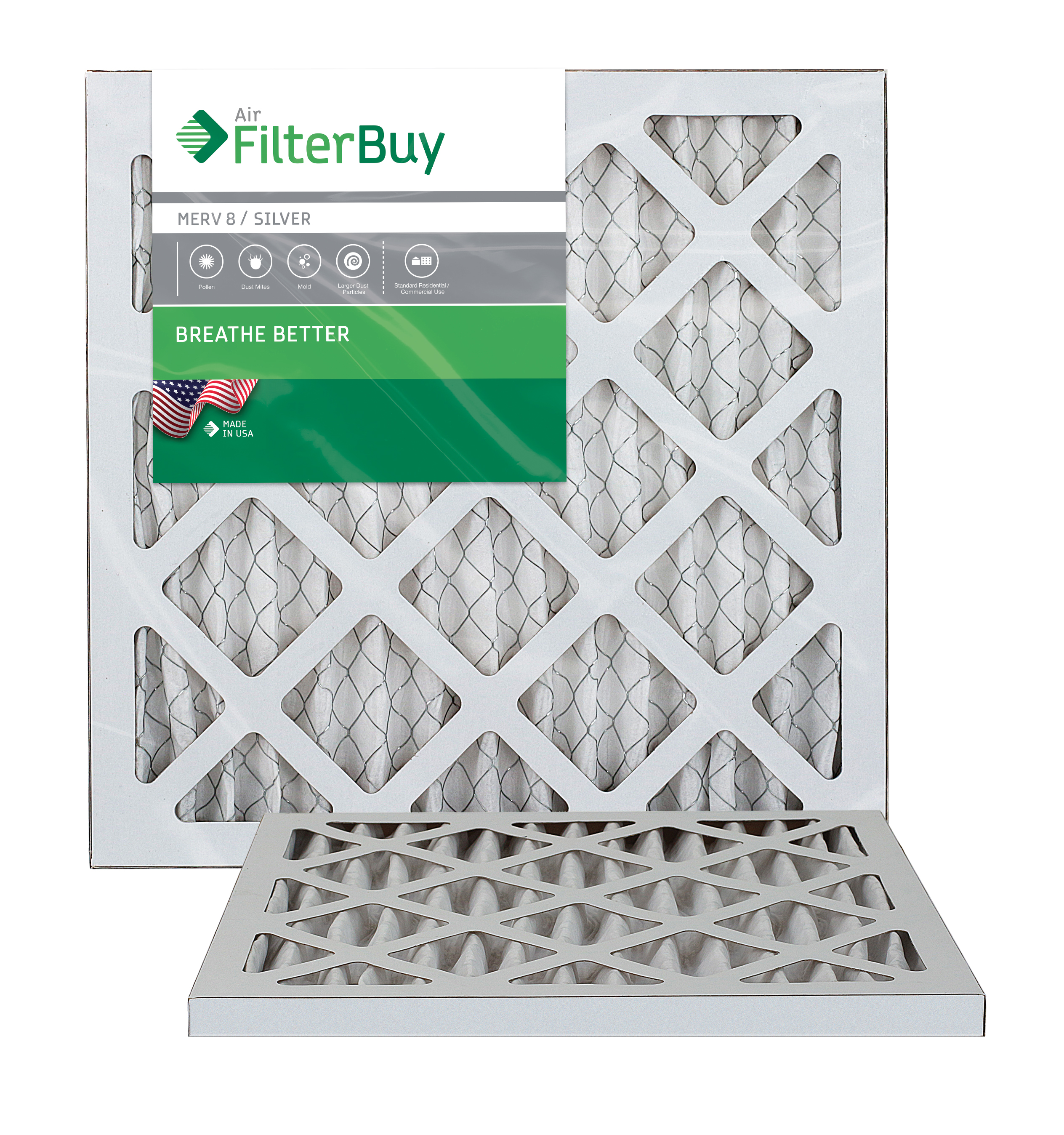 10x10x1 AFB Silver MERV 8 Pleated AC Furnace Air Filter. Pack of 2 Filters. 100% produced in the USA.