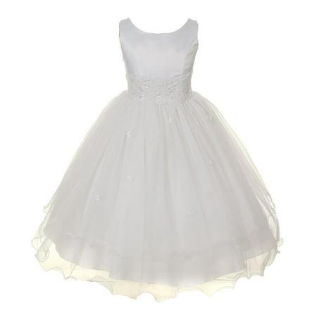 Kids Dream Girls White Satin Lace Beadwork Wire Hem Communion Dress - Satin Dress For Kids