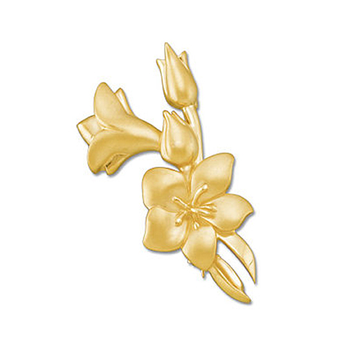 14K Yellow Gold Flower Buds Pin Brooch by