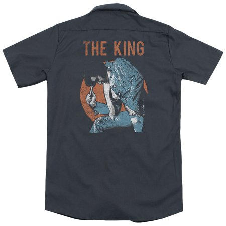 Elvis Mic In Hand (Back Print) Mens Work Shirt](Elvis Microphone)