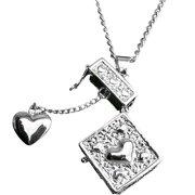 Hampton Direct Trinket Bo Heart Pendant With Locking Magnetic Clasp - Silver