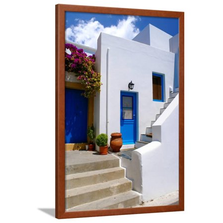 Traditional Houses Greece (Greek Traditional House Located at Santorini Island Framed Print Wall Art By zozopap )