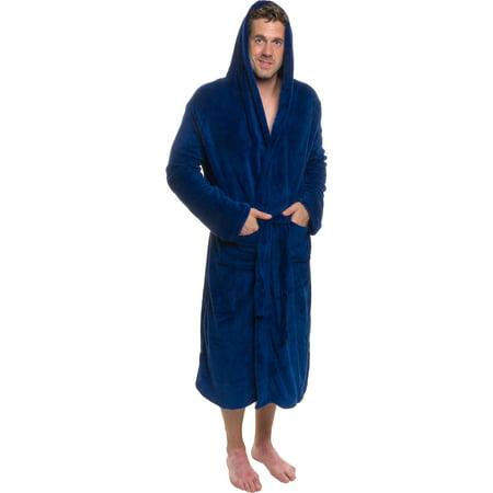 ROSS MICHAELS Mens Plush Shawl Collar Kimono Hooded Bath Robe (Navy, L/XL) Hooded Kimono Robe